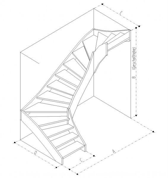 Treppe 2x90° rechts gewendelt Buche naturbunt Parkett-Optik
