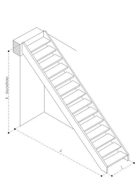 Geradläufige Treppe Buche naturbunt Parkett-Optik