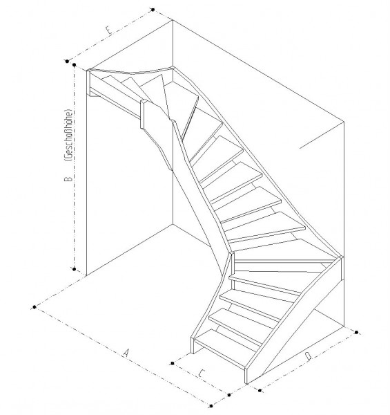 Treppe 2x90° links gewendelt Buche naturbunt Parkett-Optik