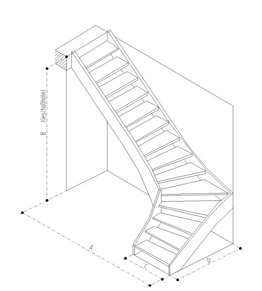 Treppe 90° links gewendelt Buche naturbunt Parkett-Optik