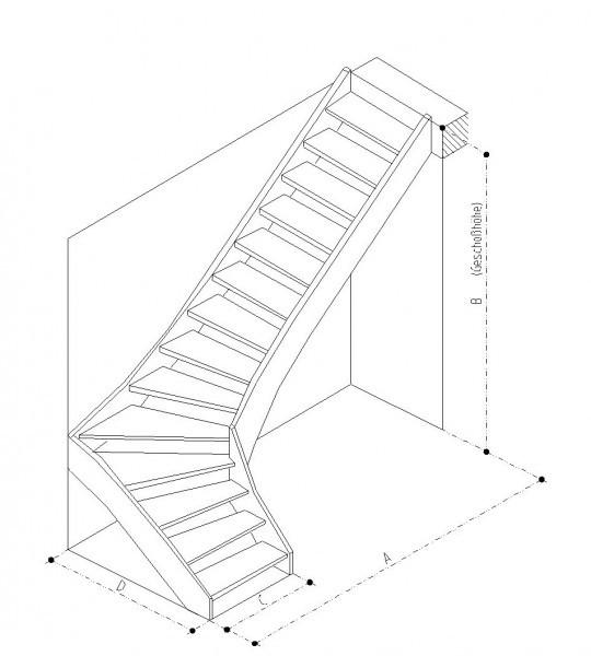 Treppe 90° rechts gewendelt Buche naturbunt Parkett-Optik